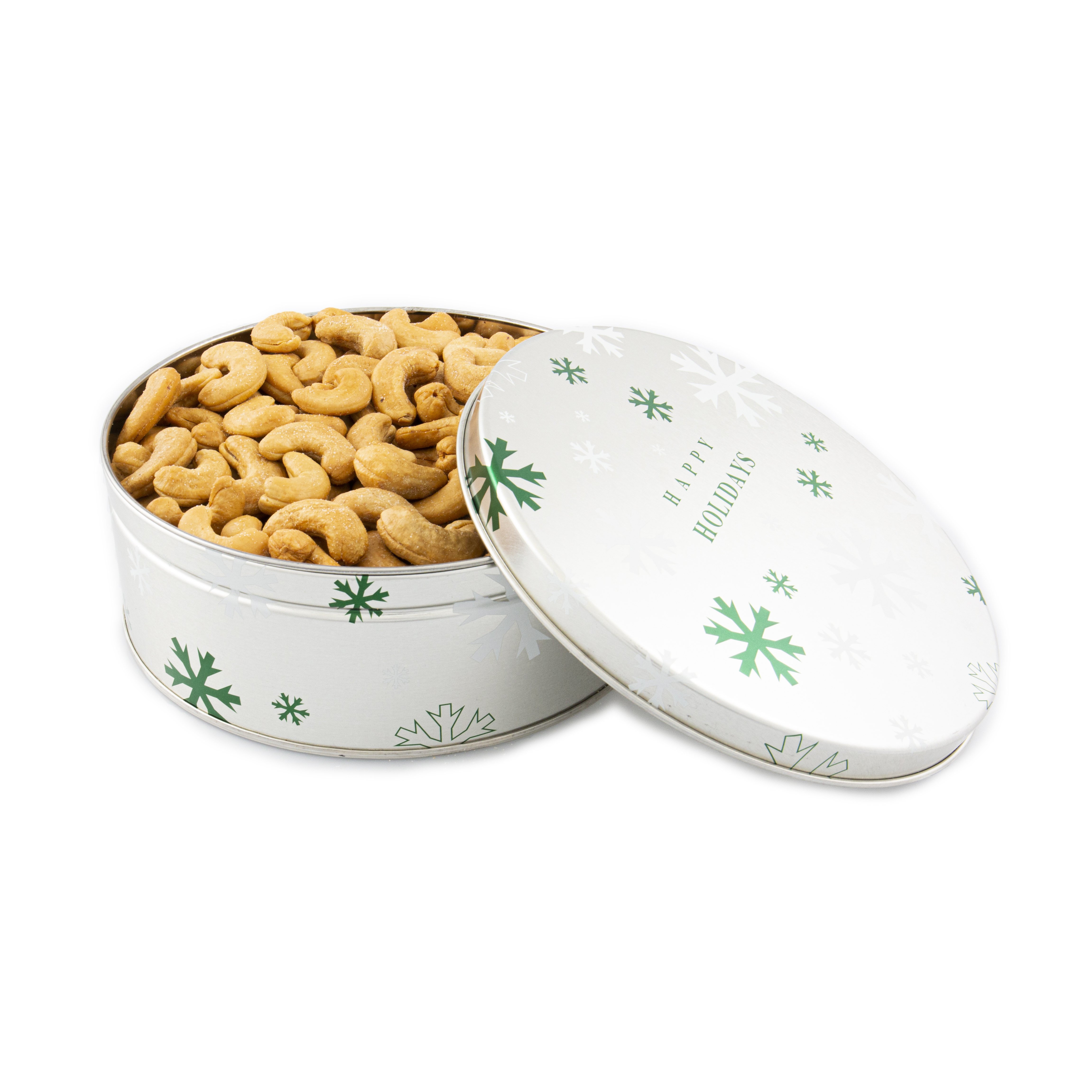 1 lb. Colossal Cashews Happy Holidays Tin